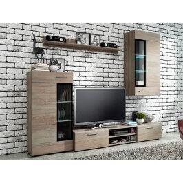 ALTOON, obývací stěna, bílá/černý lesk